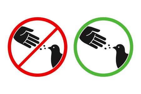 Voed het waarschuwingsbord van de vogels, het gestileerde vectorduivensilhouet en het handsymbool in gekruiste rode cirkel niet. Het voeren van dieren is toegestaan in groene cirkel. Vector Illustratie