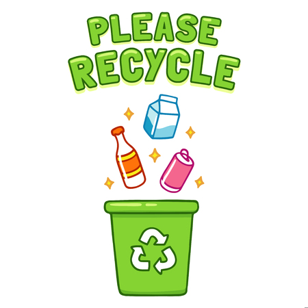 Cute cartoon Please Recycle poster. Throwing different type of trash, bottles and cans, in recycle bin. Ecology conservation illustration. Illustration