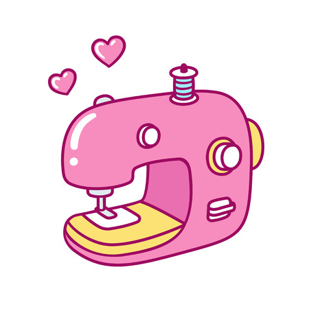 Cute cartoon pink sewing machine with hearts, Love sewing vector illustration. Çizim