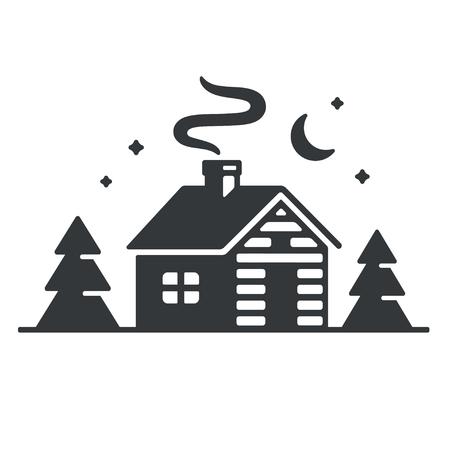 Chata w lesie ikona lub logo. Prosty drewniany domek w nocy