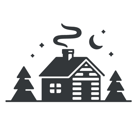 Log cabin in woods icon or logo. Simple wooden cottage at night