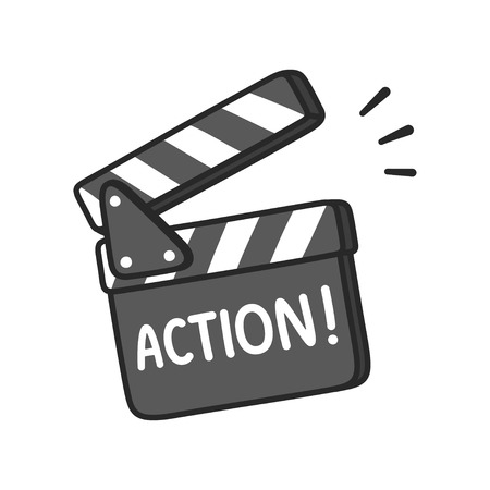 Lights, camera, Action! Film making clapboard with text. Hand drawn cartoon vector illustration.