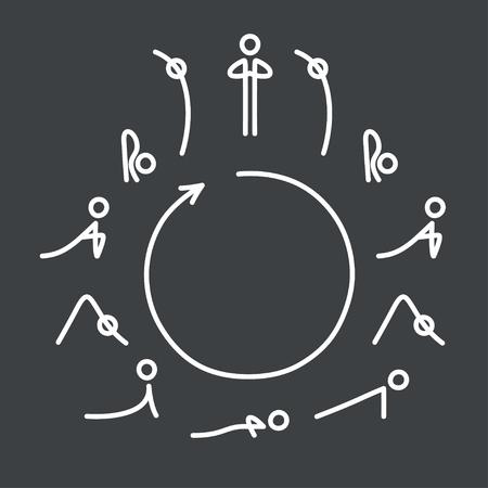 Sun Salutation yoga exercise, Surya Namaskara flow. Circle with yoga poses icons in very simple