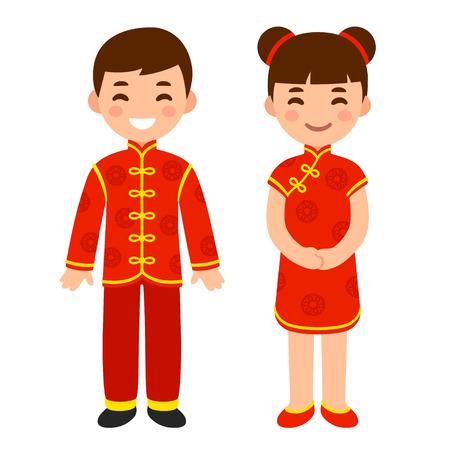 Chico y chica lindos en traje nacional de China. Niños de dibujos animados en ropa roja tradicional de año nuevo chino. Ilustración de arte de clip de vector.