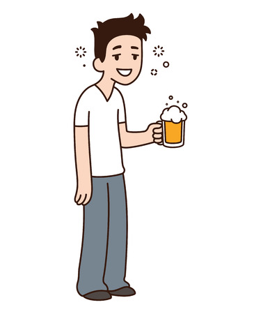 Happy smiling drunk guy holding beer. Funny cartoon vector character illustration.