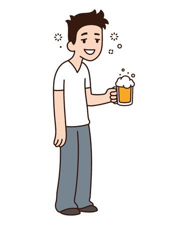 Heureux mec ivre souriant tenant de la bière. Illustration de personnage de vecteur de dessin animé drôle.