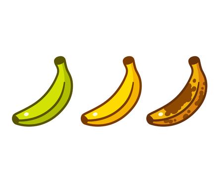 Banana ripeness color cartoon icon set. Green, ripe yellow, old brown bananas. Cartoon style vector illustration.
