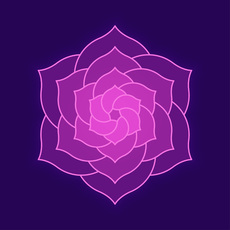 Abstract lotus flower illustration on dark background. Geometric flower shape for logo design, spirituality and enlightenment concept. Logo