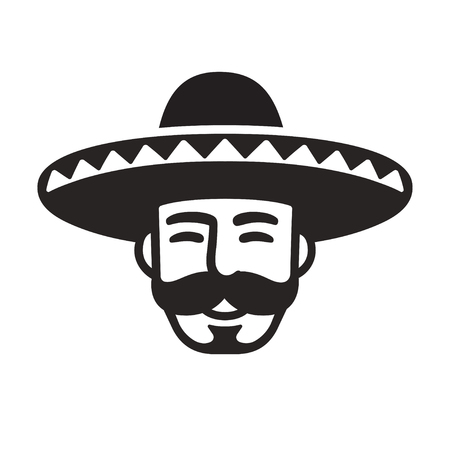 Mexican man portrait with mustache in sombrero. Black and white icon or logo