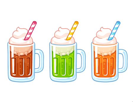 Jeu d'illustrations de flotteurs de crème glacée au soda de dessin animé. Différentes boissons non alcoolisées avec crème glacée, dessert américain traditionnel.