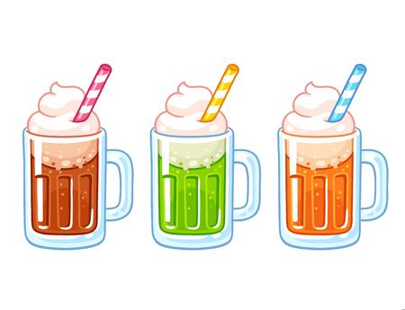 Cartoon soda ice cream floats illustration set. Different soft drinks with ice cream, traditional American dessert.