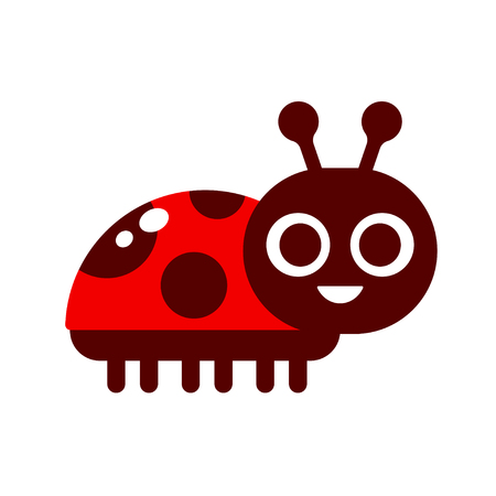 Cute cartoon smiling ladybug in simple flat vector style. Children's book illustration.