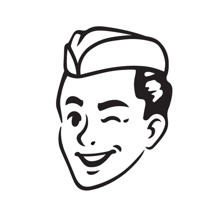 Retro portrait of young man in cap winking. Army military guy or waiter, soda jerk boy. Vintage style vector illustration.