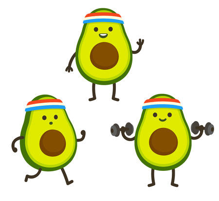 Funny heath and fitness illustration set. Cartoon avocado with sweatband jogging and lifting dumbbells. Cute sporty character drawing, cardio and weightlifting. Stock Vector - 112063221