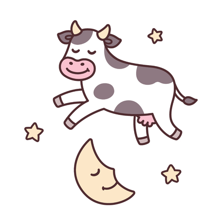 The cow jumped over the moon, from traditional nursery rhyme Hey Diddle Diddle. Cute cartoon vector illustration.