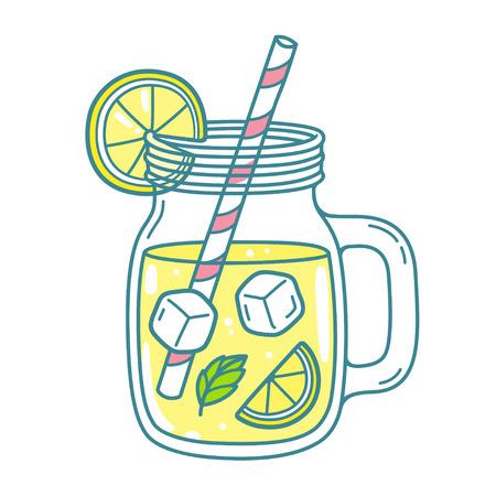 Limonata in tazza barattolo di vetro con cannuccia e spicchio di limone. Rinfrescante bevanda estiva vector clip art illustrazione, doodle stile disegno.