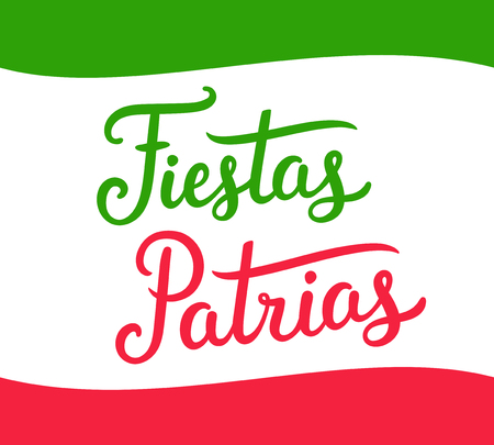 Fiestas Patrias, spanish for Independence Day, national holiday of Mexico. Hand drawn text lettering celebration banner with Mexican flag colors.