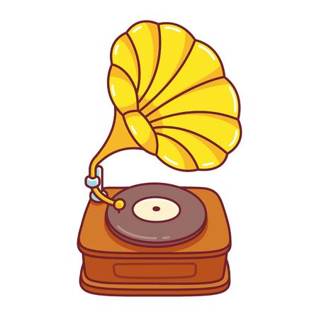 Cartoon-Grammophon-Plattenspieler-Zeichnung. Nette Vektorillustration der Weinlesemusikausrüstung. Vektorgrafik