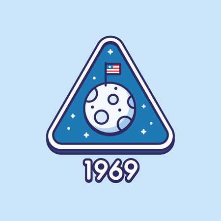 Retro style Moon landing badge with American flag on moon, Apollo 11 mission. Line icon, flat vector illustration.