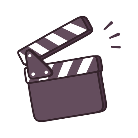 Blank movie clapper board drawing, film production symbol. Isolated cartoon vector illustration.