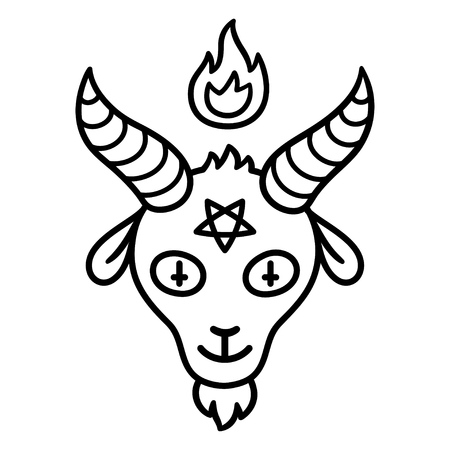 Cartoon style Satan drawing, goat head with pentagram and fire. Beelzebub or Baphomet, satanic symbol. Cute devil vector illustration.
