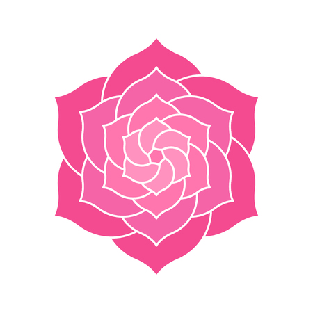 Elegant geometric lotus or camelia illustration. Abstract pink flower shape with many petals for logo design.
