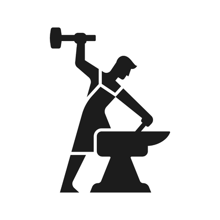 Smithy logo. Stylized blacksmith silhouette working with hammer and anvil. Simple modern vector icon.