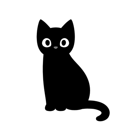 Cartoon black cat drawing. Simple and cute kitten silhouette, Halloween vector illustration.