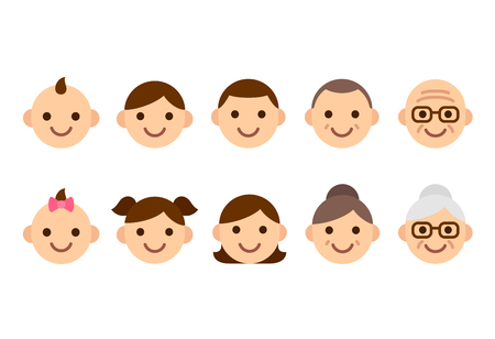 People faces of different ages, young to old, male and female. Cute and simple icon set, flat cartoon style vector illustration.