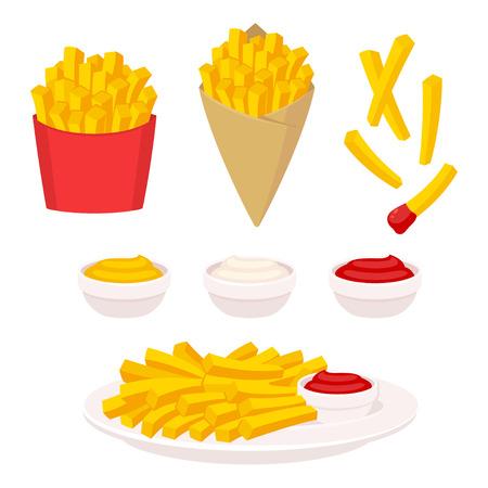 Zestaw ilustracji wektorowych frytki. Frytki ziemniaczane w pudełku fast food, papierowym rożku i na talerzu. Sos do maczania: keczup, majonez i musztarda.