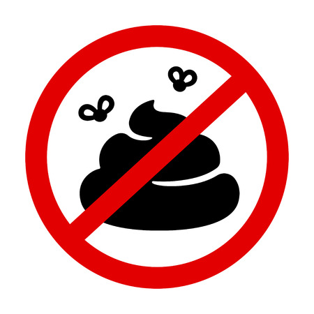 Prohibition sign with crossed poo, pile of shit with flies in red circle. No pooping vector symbol. Banco de Imagens - 108339207