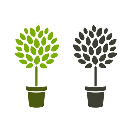 Gestileerde vormsnoei boom in pot. Eenvoudig logo-ontwerp, kleur en zwart-wit. Kamerplant of tuinieren vectorillustratie. Stockfoto - 108339119