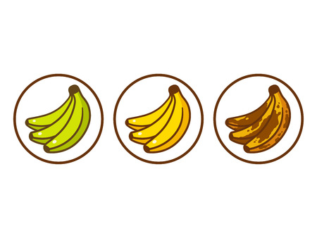 Banana ripeness vector illustration. Green underripe bananas, yellow and brown over ripe. Cartoon style icon set.
