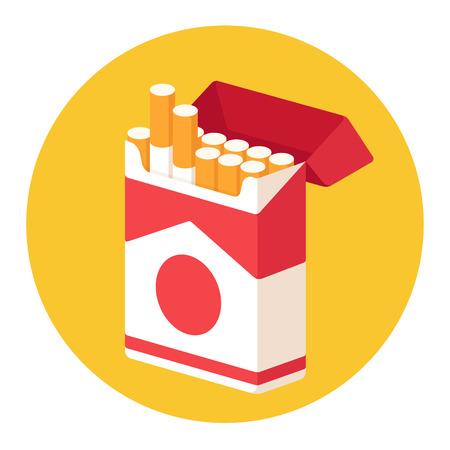 Zigarettenschachtel öffnen. Isometrische Illustration im flachen Karikaturstil. Raucherentwöhnungskonzept.