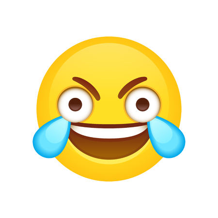 Open Eye Crying Laughing Emoji. Funny crazy meme face with wide open eyes and tears of joy. Vector clip art illustration.