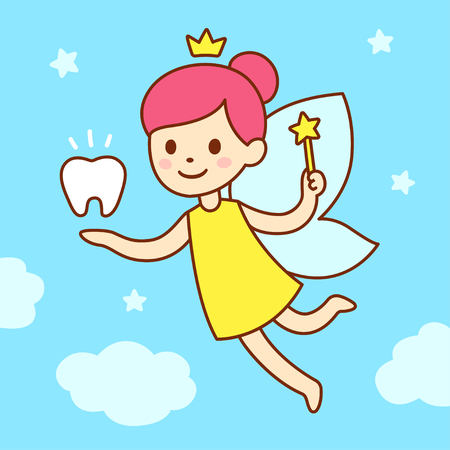 Cute little tooth fairy with wings, magic wand and a tooth. Cartoon vector illustration.