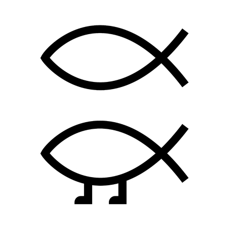 Ichthys, Christian fish sign, and Darwin fish symbol with legs symbolizing evolution and science. Classic car bumper sticker, vector illustration set.