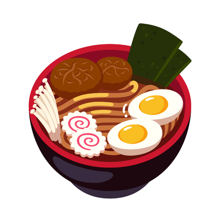 Ramen noodle soup bowl with enoki mushrooms, Naruto spiral fish cake and egg. Traditional Japanese cuisine dish. Cartoon vector illustration. Stock fotó - 110122501