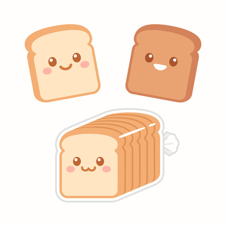 Cute cartoon slices of bread with kawaii faces. White and brown rye toast. Simple flat vector style illustration.