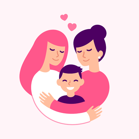 Gay couple with kid, happy lesbian women parents and son. Cute loving family hugging, vector illustration. 일러스트