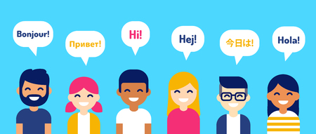 Grupo internacional de personas saludando en diferentes idiomas. Diversos personajes de dibujos animados, Ilustración de estilo moderno vector plano. Elemento de diseño de aprendizaje, educación y comunicación.
