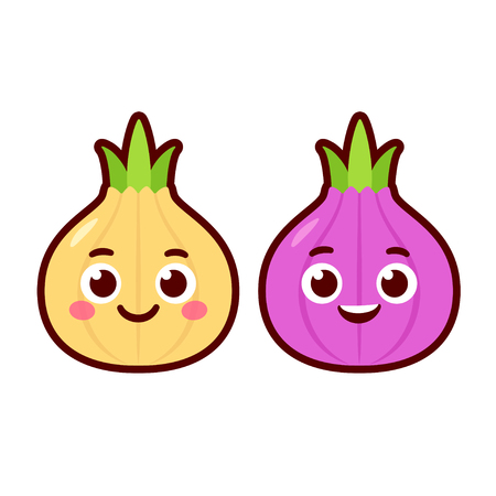 Cute cartoon onion characters, red and yellow onions. Vector clip art illustration.