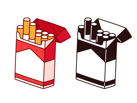 Open cigarette pack cartoon drawing in color and black and white. Smoking habit vector illustration. Иллюстрация