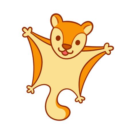 Cute cartoon flying squirrel, funny little animal vector illustration. Illustration