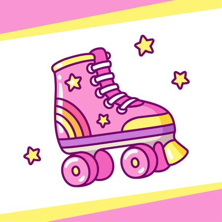Cute retro style roller skates drawing. Hand drawn cartoon vector illustration. Vettoriali