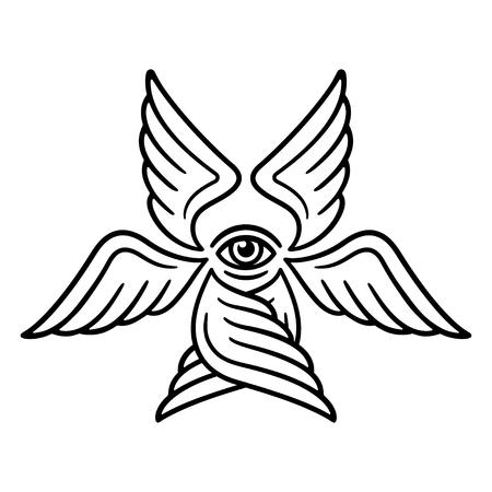 Seraphim, ange à six ailes du livre biblique de l'Apocalypse. Illustration stylisée de Seraph pour la conception de tatouage, dessin au trait noir et blanc. Vecteurs