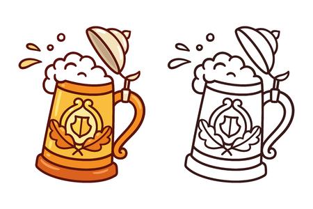 Stein tradicional de Oktoberfest, jarra de cerveza, con salpicaduras de espuma y cerveza. Ilustración de arte de clip de vector de estilo de dibujo de dibujos animados.