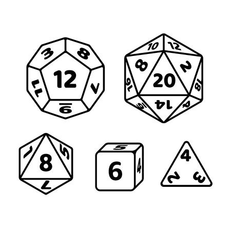 Set di dadi poliedrici per giochi da tavolo fantasy RPG. d20, d12, d8 e cubo con numeri sui lati. Icone vettoriali in bianco e nero.