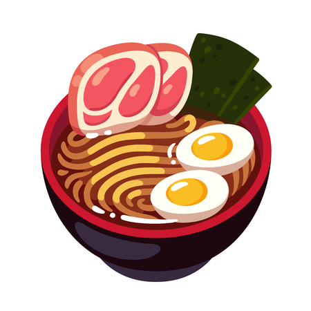 Tonkotsu Ramen noodle bowl topped with pork slices, egg and seaweed. Traditional Japanese cuisine dish. Cartoon vector illustration.  イラスト・ベクター素材