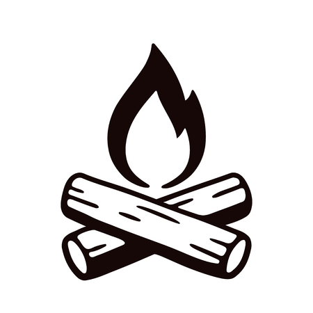 Campfire hand drawn vector illustration, retro style logo. Crossed logs and cartoon fire flame.
